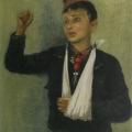 """13. Адливанкин Самуил """"No passaran! (Портрет сына)"""" 1937 Холст, масло 80х60,5 Государственная Третьяковская галерея"""