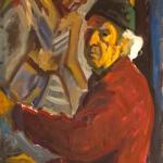 """Николай Никогосян """"Автопортрет на фоне """"Снятия с креста"""" И. Пчельникова"""" Конец 1990-х. © Галерея Нико"""