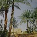 """1. Бенуа Альберт """"Пальмы в Бискре (Алжир)"""" 1884 Бумага, акварель, лак 26,6х21,6 Государственный Русский музей"""