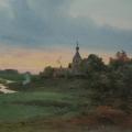 """34. Бенуа Альберт """"Летний пейзаж"""" 1905 Картон, акварель, белила, лак 23х31 Пермская государственная художественная галерея"""