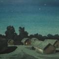 """35. Бенуа Альберт """"Лунная ночь"""" Бумага, акварель 16,5х25,9 Вятский областной художественный музей"""
