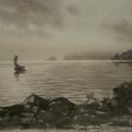 """8. Бенуа Альберт """"Вид на Финский залив"""" 1872 Бумага, сепия 15,3х21,4 Государственный музей-заповедник Петергоф"""