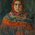 """6. Чирков Антон """"Молодая женщина в красном платке"""" 1928 Холст, масло 89х71"""