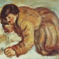 """8. Чирков Антон """"Мужик, пьющий спирт"""" 1928 Холст, масло 50х70 Тверская картинная галерея"""