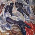 "11. Егоршина Наталия ""Жук (Портрет Л.Э. Калнынь)"" 1961 Холст, масло 160х120"
