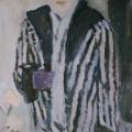 "29. Егоршина Наталия ""Автопортрет. Полосатая шубка"" 1974 Холст, масло 75х70"