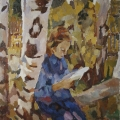 """3. Егоршина Наталия """"Девочка в саду"""" 1958 Холст, масло 84х80"""