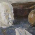 """38. Егоршина Наталия """"Натюрморт с маской Петра I"""" 1975 Холст, масло 37х64"""