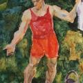 "4. Егоршина Наталия ""Портрет Н. Андронова в красных трусах"" 1956 Холст, масло 115х90"