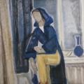 """48. Егоршина Наталия """"Автопортрет. В синем халате"""" 1983 Холст, масло 120х80"""