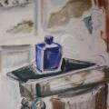 """55. Егоршина Наталия """"Натюрморт с синей чайницей"""" 1990 Холст, масло 61х49"""