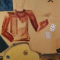 "57. Егоршина Наталия ""Тройка, семёрка, туз"" 1992 Коллаж, холст, масло, шёлк, бархат, бумага 119х80"