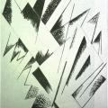 """31.  Экстер Александра  """"Композиция""""  1921  Бумага, графитный карандаш, тушь, кисть  48х32  Собрание Д.Сарабьянова"""