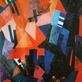 """34.  Экстер Александра  """"Городской пейзаж""""  Около 1916  Холст, масло  117х88  Слободской музейно-выставочный центр"""