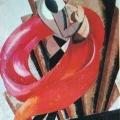 """88.  Экстер Александра  Эскизы декораций и костюмов к спектаклю """"Ромео и Джульетта"""" по трагедии У.Шекспира - Второй музыкант  1921  Картон, гуашь, бронза, серебро  50,2х35,6  Государственный центральный музей театрального искусства им.Бахрушина, Москва"""