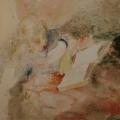 """16. Фонвизин Артур """"Портрет жены с книгой"""" 1934 Бумага, акварель 29,5х29,5 Частное собрание"""