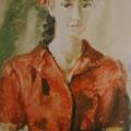 """17. Фонвизин Артур """"Портрет девушки в красном"""" 1955 Бумага, акварель 65х44 Частное собрание"""