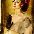 """20. Фонвизин Артур """"Портрет балерины М.В. Колпакчи"""" 1956 Бумага, акварель Калужский художественный музей"""