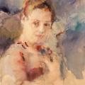"""22. Фонвизин Артур """"Женский портрет"""" 1939 Бумага тонированная, акварель 59х37 Тульский музей изобразительного искусства"""