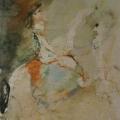 """29. Фонвизин Артур """"Цирк. Наездница в шляпке"""" 1930-е Папиросная бумага, графитный карандаш, акварель 29х20,5 Частное собрание"""
