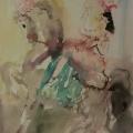 """33. Фонвизин Артур """"Цирк. Наездница на лошади с изумрудным чепраком"""" 1946 Бумага, акварель 42х30 Частное собрание"""