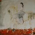 """35. Фонвизин Артур """"Цирк. Амазонка в сером"""" 1959 Бумага, акварель 37,6х39,4 Частное собрание"""