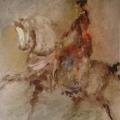 """40. Фонвизин Артур """"Цирк. Наездница. Из серии """"Промокашки"""" 1960-е Фильтровальная бумага, акварель, бронзовый порошок, графитный карандаш 42х29,5 Частное собрание"""