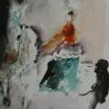 """42. Фонвизин Артур """"Цирк. Наездница в оранжевом жакете на зелёной попоне"""" 1950-е Бумага, акварель Частное собрание"""