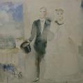 """52. Фонвизин Артур """"Мещанская свадьба"""" 1930-е Бумага, акварель 32х36 Государственная Третьяковская галерея"""