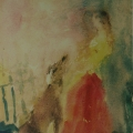 """57. Фонвизин Артур """"Девушка с собакой"""" 1941 Бумага, акварель 33х25,5 Частное собрание"""