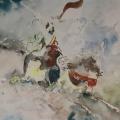 """67. Фонвизин Артур """"Бедуин на лошади"""" 1930-е Бумага, акварель 37,6х47 Государственная Третьяковская галерея"""