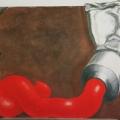 "30. Гросицкий Андрей ""Красная краска"" 1996 Дерево, холст, масло 100х110"