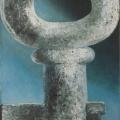 """34. Гросицкий Андрей """"Ключище"""" 1998 Дерево, смешанная техника, масло 100х60"""