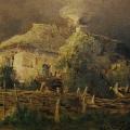 "4. Гун Карл ""В деревне"" 1867 Картон, масло 13,3х17,4 Государственная Третьяковская галерея"