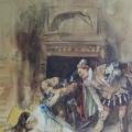 """8. Гун Карл """"Сцена из Варфоломеевской ночи. Эскиз"""" 1869-1870 Бумага, акварель, белила, графитный карандаш 27,1х19,7 Государственный Русский музей"""