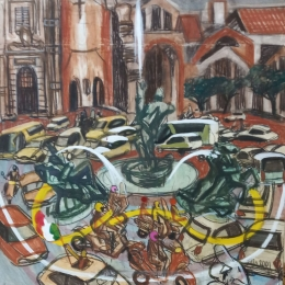 """Игорь Пчельников """"Площадь в Риме"""" 2001. Предоставлено: Сочинский художественный музей."""