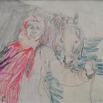 "Ф.А. Малявин ""Баба с лошадью"" 1920-1930-е. Предоставлено: Галерея ""Веллум""."