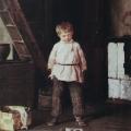 """4. Лемох Карл """"Мальчик с собачкой"""" 1873 Холст, масло 35х29 Музей изобразительных искусств Республики Карелии, Петрозаводск"""