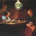 """10. Лемох Карл """"Бабушка и внучка"""" 1884 Дерево, масло 17х23,8 Государственная Третьяковская галерея"""