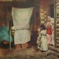 "13. Лемох Карл ""Новый член семьи"" 32х31 Холст, масло Астраханская государственная картинная галерея"