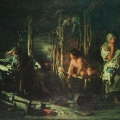 "23. Лемох Карл ""Пьяный муж"" 1894 Холст, масло 47х63,5 Таганрогская картинная галерея"