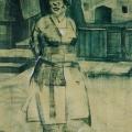 """4. Лизак Израиль """"Дитя улицы"""" 1923 Бумага на холсте, белила, итальянский карандаш 139х70 Государственный Русский музей"""