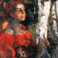 Филипп Малявин «Девушка со спицами» Конец 1910-х Ярославский художественный музей.