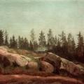 """57. Мещерский Арсений """"Лесной пейзаж с валунами"""" 1892 Частное собрание"""