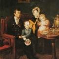 """3. Мокрицкий Аполлон """"Семейный портрет"""" 1837 Бумага на холсте, масло 41,5х32 Государственный Русский музей"""