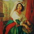 """8. Мокрицкий Аполлон """"Девушка на карнавале (Мария Джолли)"""" 1840-е Холст, масло 135х99 Таганрогская картинная галерея"""