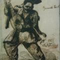 """36. Орловский Александр """"Пляшущий бандурист"""" 1801 Бумага, сепия (?), кисть, перо 36,4х22,5 Курская государственная картинная галерея"""