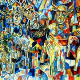 """Павел Филонов """"Живая голова"""" 1026. Государственный Русский музей. Предоставлено: Новосибирский художественный музей."""