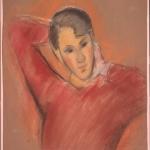 """Роберт Фальк """"Портрет женщины в красном свитере. Париж"""" 1930-е. Собрание: Государственная Третьяковская галерея. Предоставлено: Государственная Третьяковская галерея."""
