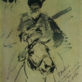 """21. Рубо Франц """"Всадник"""" 1896 Бумага, карандаш Государственный Русский музей"""